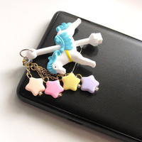 Fairy Kei Inspired Sweet Harajuku Style Blue Carousel Horse with pastel stars SmartPhone Iphone Dust Cap Phone Pluggy