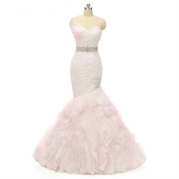 Pink Wedding Dresses Mermaid Tulle Bridal Gowns Ruffles Wedding Dress  with Beads Belt