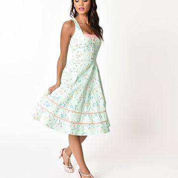 Voodoo Vixen Mint & Retro Scooter Print Eva Flared Dress