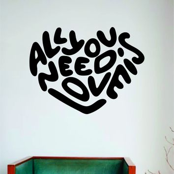 All You Need is Love Heart Wall Decal Sticker Vinyl Art Bedroom Room Home Decor Inspirational Motivational School Teen Baby Nursery Music The Beatles