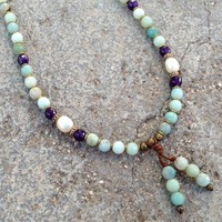 Confidence and Healing, Genuine Multi Color Amazonite, Amethyst and Pearl 108 Bead Mala Necklace