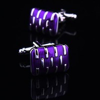 Purple Face Cufflink with Silver Stripes