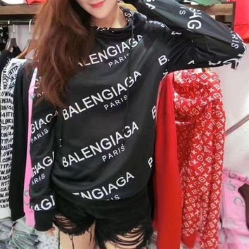 ONETOW balenciaga fashion casual logo letter print long sleeve women hooded sweater to
