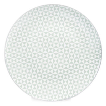 GEOMETRIK porcelain dinner plate in sea green D 27cm | Maisons du Monde