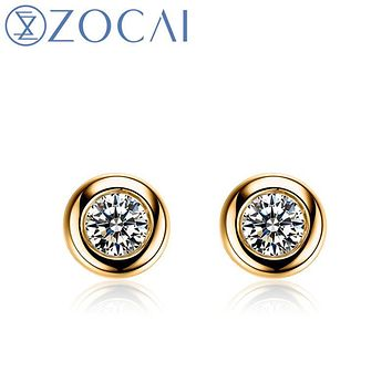 New Arrival ZOCAI 0.22 ct certified real diamond earrings 18K yellow gold diamond earrings 18K rose gold & 18K white gold E00854