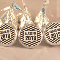 Black Pinstripe CLASS OF 2013 Graduation Party Candy Stickers Labels Kiss