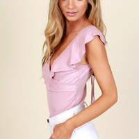 Angel Face Ruffle Crop Top Mauve