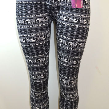 Shosho  Womens Plus Size Elephant Print Legging
