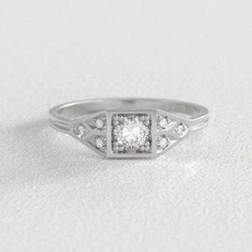 Vintage Art Deco Inspired Engagement Ring w/ 4mm Round Brilliant Cut Moissanite set in Recycled Gold with Six 1mm Canadian Diamonds