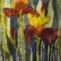 Floral painting original OOAK crimson canary yellow watercolor batik on rice paper 14x19 inches distressed look vintage-like McKinzie