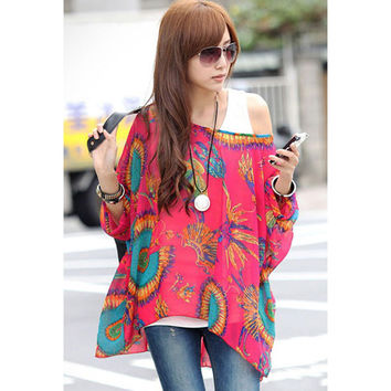 Bottoming Shirt Korean Bat Women's Fashion Batwing Sleeve Round-neck Tee Bohemia T-shirts = 4804191812