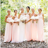 Cheap A-line Pink Chiffon Floor Length Bridesmaid Dresses, Custom Made Bridesmaid Dress, Prom Dresses, Formal Dress