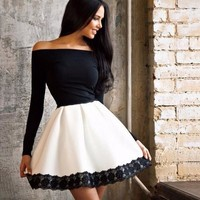 Black And White One Piece Sexy Women Summer Roper Dress Date Party Evening Dress = 5988240193