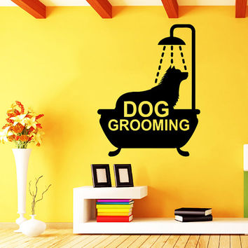 Grooming Salon Wall Decal Pet Shop Vinyl Sticker Decals Dog Comb Scissors Grooming Salon Decor Interior Art Murals Window Decal AN729