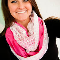 White Lace and Hot Pink Infinity Scarf