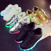 USB charging white&black Childrens Shoes with Light up Basket Led slippers kids enfants tenis for Boy Girl light up trainers