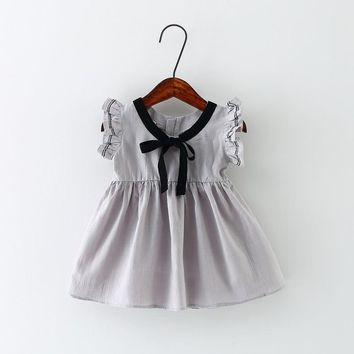 Lolita Style Baby Summer Dress for Girl Ruffle Pure Color Cotton b27b1cd08