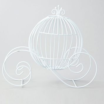 "Cinderella Wire Carriage in White - 14.25"" Tall"