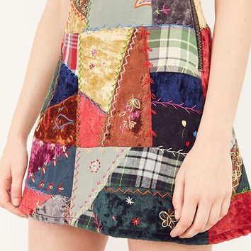 Ecote Briana Patchwork Mini Skirt | Urban Outfitters