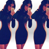 Color Block Long Sleeves Bodycon Mini Dress