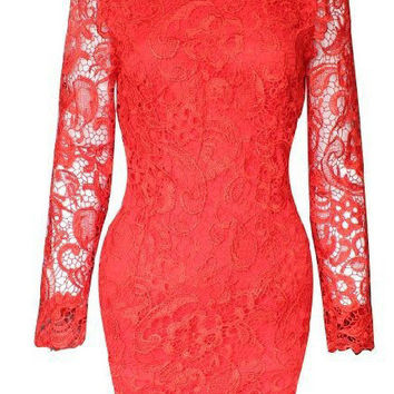 Red Long Sleeve Backless Lace Mini Dress
