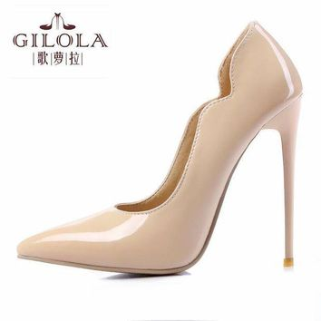 Fashion Super High Heels Patent Leather Women Pumps Sexy Women Shoes Slip On Spring Su