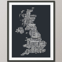 Great Britain UK City Text Map, Art Print 18x24 inch (929)