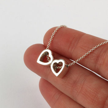 Two hearts necklace, contemporary heart silver necklace