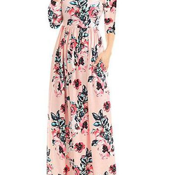 Chicloth Classic Floral Print Pink 3/4 Sleeve Maxi Dress
