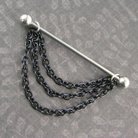 Three layers of Black Chains Industrial Bar Barbell Scaffold Piercing 14G gauge Cartilage Gothic Earring Body Jewelry