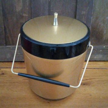 Vintage Mid Century West Bend Thermo Serve Gold and Black Ice Bucket