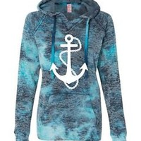 Women's Bahama Blue Hoodie Sweatshirt Anchor