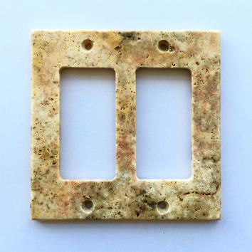 Scabos Travertine Double Rocker Switch Wall Plate / Switch Plate / Cover - Honed