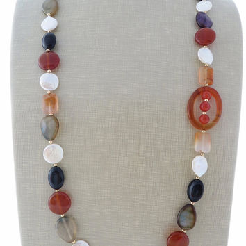 Long gemstone necklace, orange agate necklace, freshwater pearl necklace, multicolor gemstone jewelry, boho chic jewellery, italian jewels