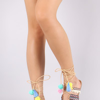 Qupid Embroidered Colorful Pom Pom Lace Up Flat Sandal