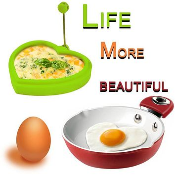 TTLIFE Reusable Silicone Egg Pancake Ring Heart Mold, Heart Makes perfect shaped pancakes eggs & Make your kids love breakfast