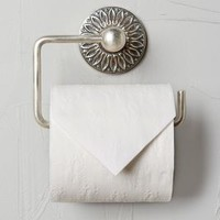 Floral Imprint Toilet Paper Holder by Anthropologie in Antique Silver Size: Toilet Paper Holder Bath
