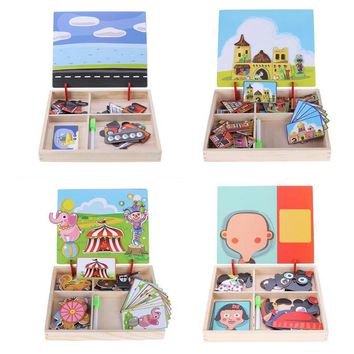 Farm Jungle Magnetic Puzzle For Baby New Year Gift Wooden Magnetic Puzzle Board Dress Up Games Children Early Educational Toys
