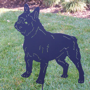 Unique French Bulldog Metal art Frenchie spring garden stake sculpture  Bull dog