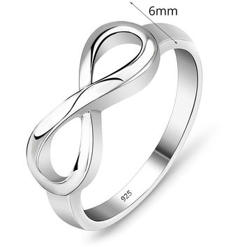 925 Sterling Silver Infinity Ring Endless Love Symbol Rings Jewelry