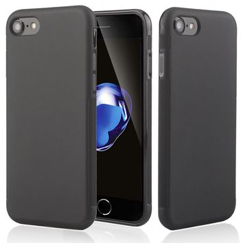 Black Soft TPU Gel Rubber Protective Matte Back Case Cover For iPhone 8 Plus 7 6