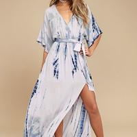 Seaside Dream Navy Blue and Lavender Tie-Dye Maxi Dress