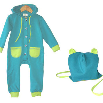 Kids jumpsuit turquise blue,  kids hat, baby overall, baby hooded overall, unisex clothes,  kids overall, eco cotton fleece
