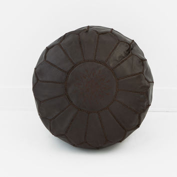 Moroccan Leather Pouf, Chocolate