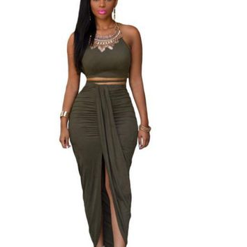 maxi sleeveless waist two piece dress