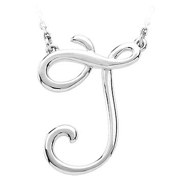 Script initial Necklace in 14k White Gold, Letter J
