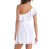 Ruffled One Shoulder A-Line Dress: Charlotte Russe