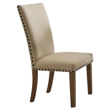 Wooden Side Chair Upholstered In Fabric With Nail head Trim, Beige & Brown