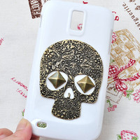 White phone case for T-mobile Samsung Galaxy S2 (Samsung T989) with  bronze skull delicately