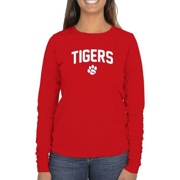 University of West Alabama Ladies Mascot Logo Long Sleeve Classic Fit T-Shirt - Bright Red